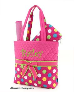 45f016120a Personalized Baby Girl Diaper Bag Set - 3pc set Hot pink polka dot