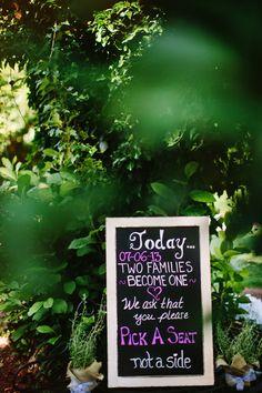 wedding ceremony chalkboard signs http://www.weddingchicks.com/2013/09/18/rustic-country-wedding-3/