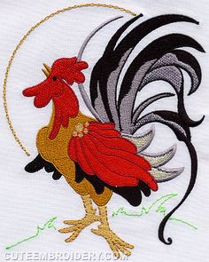This free embroidery design is a rooster.  Just perfect for kitchen projects.