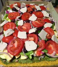 What's on your pizza? Polenta crust  Pesto Black Eyed Peas  Zucchini  Red Onions Tomatoes Mozzarella  Re-post by Hold With Hope