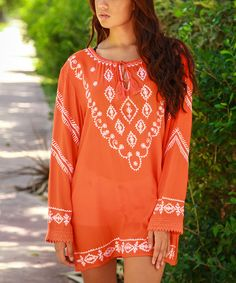 This Coral & White Embroidered Tie-Neck Tunic by La Moda Clothing is perfect! #zulilyfinds