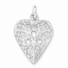 NEW SOLID 925 STERLING SILVER FILIGREE HEART THREE TEARDROP OPEN CENTER PENDANT #Pendant