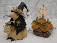 Mouse Witch for Halloween and Fall Home by MyStitchesToTreasure