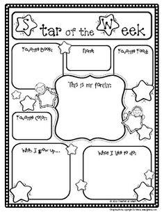 Star of the Week Poster and Writing Page - Teacher at Heart - TeachersPayTeachers.com FREE