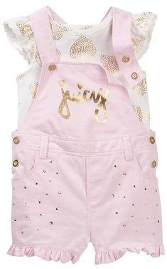 c95401e790 Juicy Couture Heart Foil Print Ruffle Sleeve Top   Shortall Set  n (Baby