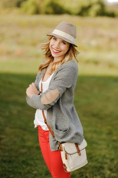 A Gap cardigan, T and pair of colored jeans as featured on the blog Sidewalk Ready.