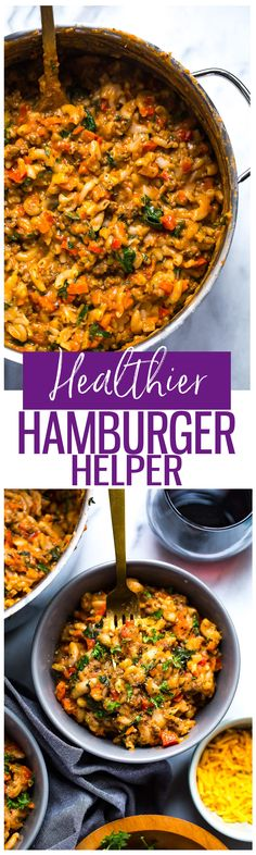 This Healthier Homemade Hamburger Helper is a delicious one-pot spin off on one of your favourite childhood meals, and it's loaded with extra veggies!