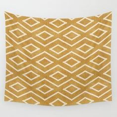 Stitch Diamond Tribal in Gold Wall Tapestry