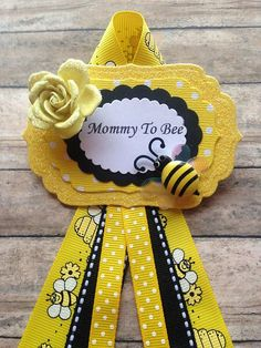Bumble Bee Mommy To Be Corsage Badge Yellow Black Theme Baby Shower Or Any Other Name