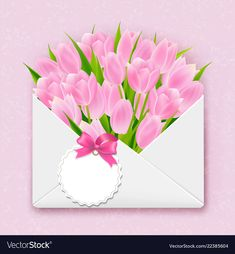 Envelope with tulips vector image on VectorStock Wallpaper Wa, Framed Wallpaper, Happy Birthday Wishes Cards, Frame Background, Bunny Art, Graphics Fairy, Blooming Flowers, Digi Stamps, Flower Frame