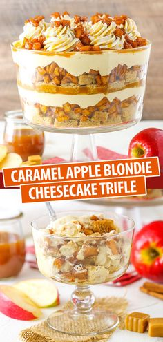 Pecan Desserts, Fancy Desserts, Köstliche Desserts, Desserts Caramel, Cheesecake Trifle, Caramel Apple Cheesecake, Caramel Apples, Cinnamon Apples, Cheesecake Recipes