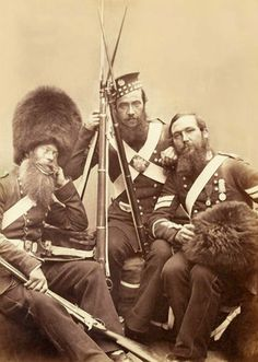 Awesome fur hats. Who knew they existed outside marching band uniforms?   c1856 Crimean War Scots Fusiliers Guards