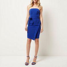 Bright blue bandeau bodycon dress - bodycon dresses - dresses - women
