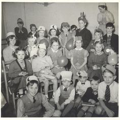 Vintage photograph of a children's party. Circa 1950's.