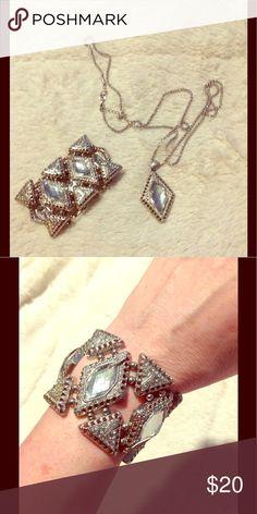 Bundle cocktail bracelet plus necklace Diamond shaped, clear stones, silver tone Jewelry
