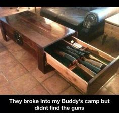 Hidden Gun Cabinet Coffee Table - Within our houses we have pieces of furniture which are practical and don't serve any actu Hidden Gun Safe, Hidden Gun Storage, Secret Storage, Hidden Shelf, Gun Rooms, Hidden Compartments, Secret Compartment, Gun Cases, Home Defense