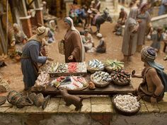 Christmas Village Display, Christmas Nativity Scene, Nativity Scenes, Fontanini Nativity, Diorama, Market Stalls, Miniature Rooms, Decoration, Crafts