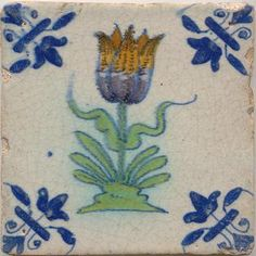 ¤ Tulip Dutch tile, c. Delft Tiles, Mosaic Tiles, Clay Tiles, Pottery Plates, Pottery Art, Tulips In Vase, Art Nouveau Tiles, Stained Glass Flowers, Antique Tiles