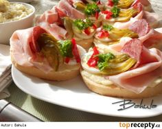Bramborový salát na chlebíčky Finger Food Appetizers, Appetizer Recipes, Canapes, Bruschetta, Ham, Delish, Chicken Recipes, Cheesecake, Finger Food