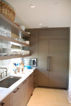 Taupe Kitchen, Contemporary, kitchen, Hooked on Houses custom panel refrigerator flush Beach House Kitchens, Home Kitchens, Scullery Ideas, Taupe Kitchen, Dream Beach Houses, Kitchen Cabinetry, Kitchen Shelves, Kitchen Pantry, Kitchen Layout