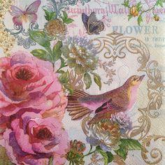 3 Paper Napkins Decoupage Bird Sparrow Roses Floral Craft Beverage Pooch