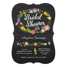 Rustic Floral Wreath Chalkboard Bridal Shower Custom Announcement