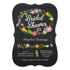 Rustic Floral Wreath Chalkboard Bridal Shower Custom Announcement
