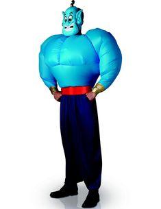 Déguisement Génie d'Aladdin ™ avec Torse gonflable adulte : Ce déguisement de Génie d'Aladdin™ pour adulte est sous licence officielle Disney™. Il se compose d'un pantalon, d'un haut et d'un masque (chaussures non...