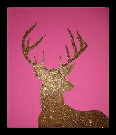 Pink and gold deer painting I designed for my daughter's camo themed bedroom.