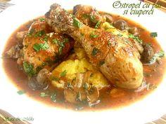 Ostropel-cu-pui-si-ciuperci-3 Romanian Desserts, Food And Drink, Chicken, Meat, Blue Prints, Zucchini, Cubs