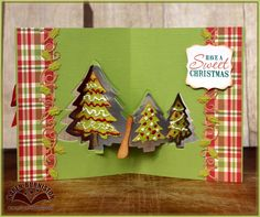 Karen Burniston created this beautiful Evergreen Pivot Card. For instructions on how to make this card, visit Karen's blog here: http://karenburniston.typepad.com/i_am_not_lefthanded/2014/12/sweet-christmas-evergreen-pivot-card-christmas-clues-update.html