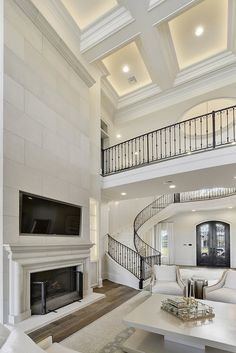 Office Ceiling Design, Interior Ceiling Design, Home Stairs Design, Dream Home Design, Tiny House Design, Interior Design Living Room, Dream House Interior, Luxury Homes Dream Houses, Luxury Homes Interior