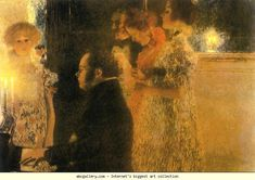 Gustav Klimt. Schubert at the Piano. Oil on canvas. 150 x 200 cm. Destroyed by fire at Schloss Immerdorf in 1945