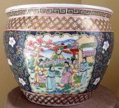 VTG-Chinese-LARGE-Hand-Painted-Koi-Fish-Bowl-Planter-Pot-Jardiniere-12-Dia