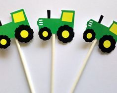 12 Green and Yellow Tractor Cupcake toppers by crafterslimited
