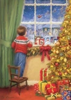 """""""Christmas Eve Expectation"""" by Daniel Rodgers - Holiday Vibes Christmas Eve Pictures, Christmas Scenery, Christmas World, Christmas Artwork, Vintage Christmas Images, Merry Christmas To All, Old Fashioned Christmas, Christmas Paintings, Retro Christmas"""