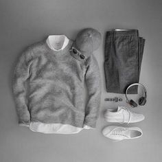 outfit grid Looking forward to a colorful weekend. Sweater: X Melange Alpaca-Blend Trousers: Slim Wool Watch: Hawkinge, Type 48 Date Headphones Casual Wear, Casual Outfits, Men Casual, Guy Outfits, Fashion Mode, Mens Fashion, Fashion Trends, Style Fashion, Grey Fashion