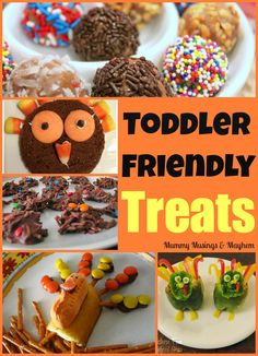 Toddler Friendly Food Treats from the Weekly Kid's Co-Op. Was from Thanksgiving last year, but it's coming back around. Holiday Treats, Holiday Recipes, Thanksgiving Treats, Holiday Fun, Baby Food Recipes, Snack Recipes, Yummy Snacks, Yummy Food, Preschool Snacks