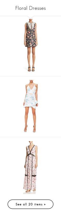 """Floral Dresses"" by li-lac7 on Polyvore featuring dresses, flutter-sleeve dress, flounce dress, retro dresses, floral mini dress, flower print dress, white, ruffle dresses, floral ruffle dress и missguided dresses"