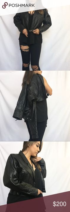 • Topshop Cropped Leather Jacket • A buttery-soft red leather jacket achieves the mysterious, tough '80s look without having to rummage through a picked-over thrift store. It features a wrap front with D-ring strap closure, notched lapels, long batwing sleeves, & front welt pockets.   • Made out of genuine leather exterior & 100% cotton interior  • Professional leather clean only Topshop Jackets & Coats