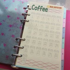 Coffee NO SPEND Printable for personal Filofax  by JustKeepPinning