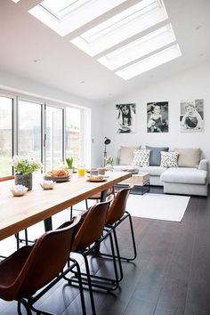 Industrial kitchen extension dining living rooflights with sofa and table. Industrial kitchen extension dining living rooflights with sofa and table. 1920s House, Home, Kitchen Family Rooms, Living Spaces, Open Plan Kitchen Living Room, Room Extensions, Open Plan Kitchen, House Interior, Interior Design