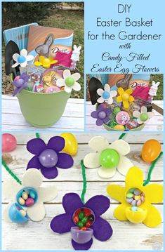 This candy filled DIY Easter Basket is perfect for a gardener or any candy lover. These felt flowers are an easy craft. Add your favorite chocolate, and it can't be resisted.