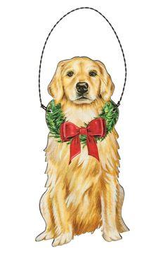 A wooden ornament for the holidays featuring a Golden Retriever design with a wreath and bow accent. Contains a twisted top wire loop for easy hanging. Dimensions: x Wooden Ornaments, Hanging Ornaments, Dogs Golden Retriever, Retriever Dog, Dog Socks, Dog List, Christmas Dog, Christmas Things, Christmas Ornaments