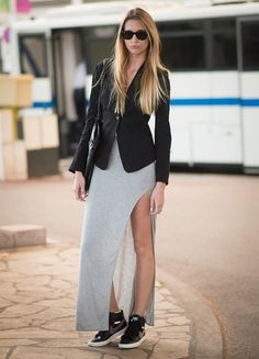 high slit skirt with sneakers #nike #sneakers