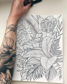 32 Best Tattoo Ideas For Women - Page 20 of 32 - Tattoo Designs Tropisches Tattoo, Leg Tattoos, Body Art Tattoos, Tattoo Drawings, Small Tattoos, Sleeve Tattoos, Female Tattoo Sleeve, Tatoos, Faith Tattoos