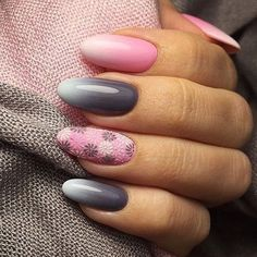 Pink Grey Wite Ombre Floral Nail Design