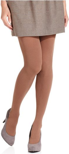 HUE Ribbed Opaque Tights with Control Top Tights - Step up your style with these opaque ribbed tights from HUE, featuring comfortable control top for a slimmer-looking silhouette.