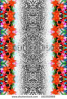 Animal skin with tropical flowers - stock photo