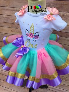 Unicorns first birthday tutu First Birthday Tutu, Birthday Dresses, My Little Pony Birthday Party, Unicorn Birthday, Unicorn Party, Girl Birthday, Tutu Outfits, Kids Outfits, Baby Doll Nursery